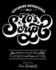"""Seventies script is bold, curvy, and can make any illustration look """"totally far out"""". This """"funkadelic"""" ..."""