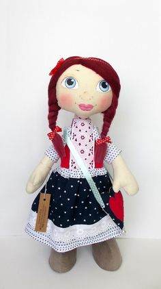 Doll is about 17 inches(43 cm) , is made from 100% cotton and filled with polyester antibacterial. The doll body is completely sewn from