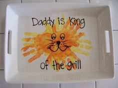 Father's Day - Kids hand-prints baked into a dish for Dad. #For #Dad