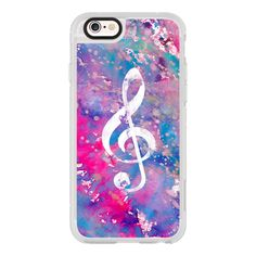 Bright pink purple watercolor white classical music note - iPhone 6s... ($40) ❤ liked on Polyvore featuring accessories, tech accessories, iphone case, iphone hard case, iphone cases, iphone cover case, clear iphone cases and apple iphone cases