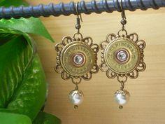 Items similar to Shotgun Shell Jewelry ~ 28 Gauge Remington Peters ~ Pearl Earrings on Etsy Shotgun Shell Jewelry, Metal Jewelry, Diy Jewelry, Jewelry Design, Bullet Earrings, Bullet Jewelry, Pearl Earrings, Drop Earrings, Bead Caps