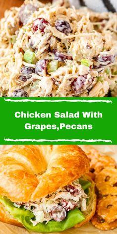Homemade Chicken Salad Recipe Easy, Easy Pasta Salad Recipe, Yummy Chicken Recipes, Healthy Salad Recipes, Chicken Salad With Grapes, Pecan Chicken Salads, Simple Chicken Salad, Healthy Chicken, Grape Recipes