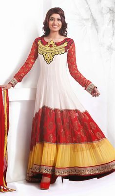 Gleaming Georgette Tiered Long Anarkali Suit Price: Usa Dollar $121, British UK Pound £71, Euro89, Canada CA$131 , Indian Rs6534.