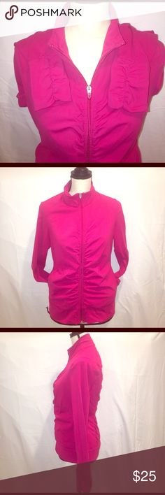 """lucy Full Zip Pucker Jacket lucy Full Zip Pucker Jacket with side pockets. Gathered in front and back gives that slimming look. Also gathered on the cuffs and 2"""" band around the bottom. A+ condition. Deep pink in color. Lucy Jackets & Coats"""