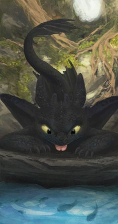 Toothless is doing what your cat would do.