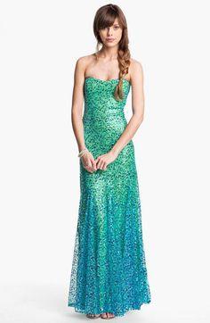 As U Wish Strapless Sequin Ombré Mermaid Gown (Juniors) | Nordstrom