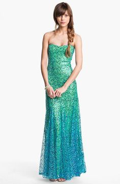 As U Wish Strapless Sequin Ombré Mermaid Gown (Juniors) | Nordstrom
