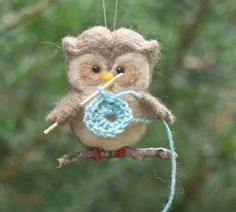 This cute little owl is working intently on its first crochet project (it all starts with a granny square, right?) by scratchcraft on Etsy
