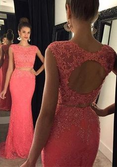 Watermelon Red Lace Prom Gowns Two Piece Keyhole Back pst0109