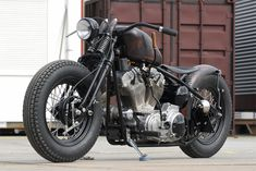 Classic Bobber Motorcycle with Flat Handlebars and Suicide Shifter