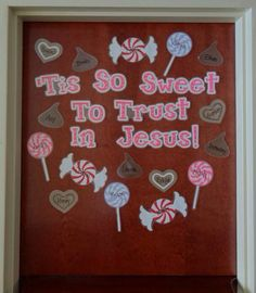 'Tis So Sweet To Trust In Jesus! – Christian Valentine's Day Display Christian Valentine's Day Door Display and Bulletin Board Idea Bible Bulletin Boards, February Bulletin Boards, Valentines Day Bulletin Board, Christian Bulletin Boards, Preschool Bulletin Boards, Bullentin Boards, Christian Classroom, Christian Preschool, Sunday School Rooms
