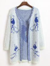 White Long Sleeve Blue Ant Pattern Cardigan