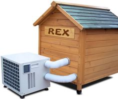 Dog House Air Conditioner Heater Combo - Searching for high quality dog house air conditioner heater combo for your dog? Browse this page for details. Dog House Kit, Dog House Heater, Heated Dog House, Os Pets, Luxury Dog House, Portable Dog Kennels, Dog House Air Conditioner, Canis, Outside Dogs