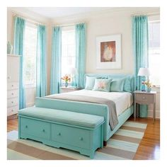 "Cozy Cottage-Style Bedrooms"" love this color... but want it on the walls with white comforter and furniture..."