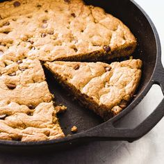 """This undated photo provided by America's Test Kitchen in January 2019 shows a Chocolate Chip Skillet Cookie in Brookline, Mass. This recipe appears in the cookbook """"The Perfect Cookie."""" (Daniel J. van Ackere/America's Test Kitchen via AP) Cast Iron Skillet Cookie, Skillet Chocolate Chip Cookie, Iron Skillet Recipes, Cast Iron Recipes, Chocolate Chip Recipes, Skillet Meals, Chocolate Chip Cookies, Skillet Cooking, Oven Cooking"""