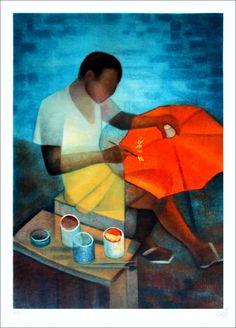 """TOFFOLI Louis - Lithographie Originale """"Le décorateur d'ombrelles"""" 76x56cm - 1985"""