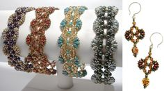 New crystal and SuperDuo bead pattern up: the Flutter Bracelet and Earrings Beaded Bracelet Patterns, Jewelry Patterns, Beading Patterns, Beaded Jewelry, Beaded Necklace, Beaded Bracelets, Jewelry Ideas, Super Duo Beads, Twin Beads