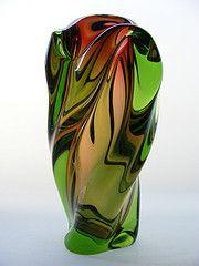"10"" Bohemian sculptural glass vase by art-of-glass #EasyPin"