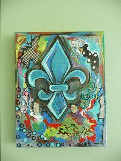 Fleur De Lis Mixed Media Louisiana Colorful by evesjulia12 on Etsy