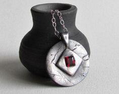 Precious Metal Clay Necklace - July Birthstone - Ruby CZ