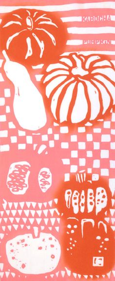 Japanese Tenugui Towel Cotton Fabric, Hand Dyed Fabric, Lush Pumpkin Design…