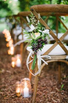 Candlelight Ceremony Aisle Decor | M Three Studio Photography | Wild Hunt Wedding Inspiration in Berry and Brown