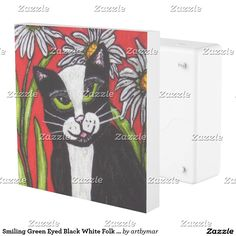 Smiling Green Eyed Black White Folk Art Cat Flower Outlet Cover