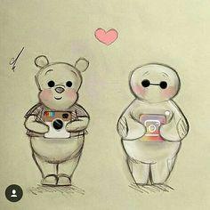 Winnie The Pooh & Baymax [as Instagram] (Drawing by Unknown) #SocialMedia #WinnieThePooh #BigHero6