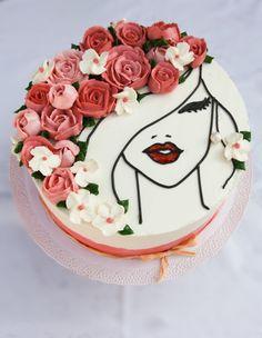 Flower lady cake by Teriely Buttercream Cake Designs, Cake Decorating Frosting, Cake Decorating Videos, Birthday Cake Decorating, Cake Decorating Techniques, Buttercream Roses, Lady Cake, Mom Cake, Birthday Cake Pinterest