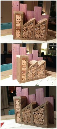 Insect hotel made of recycled pallet wood