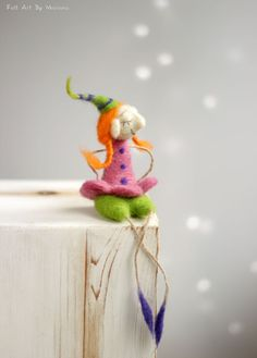 Needle Felt Santa Elf  Dreamy Christmas Elf  by FeltArtByMariana