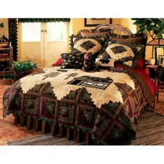 Save - on all Rustic bedding and comforter sets at Black Forest Decor. Your source for discount pricing on lodge bedding and bear bedding accessories. Rustic Quilts, Rustic Bedding, Modern Bedding, Western Bedroom Decor, Western Decor, Western Bedrooms, Western Style, Country Decor, Rustic Decor