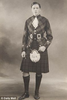 With his tartan trews, piercing blue eyes and neatly trimmed moustache, dashing young war hero Roddy Macleod was a young girl's dream. Great Kilt, Tartan Clothing, Scottish Dress, Clan Macleod, Bad Boy Style, Celtic Pride, Men In Kilts, Types Of Jackets, Scottish Clans