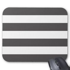 Modern Bold Gray and White Stripes Mouse Pad
