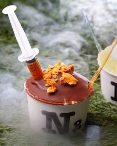 """* """"Syringes of Chocolate?!"""" A creation from N2 Extreme Gelato."""