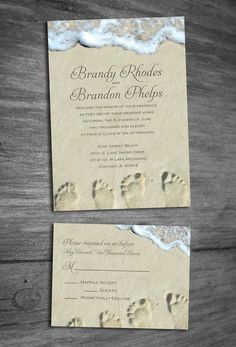 Beach Wedding Invitation Sample by InspiredForever on Etsy, $3.75