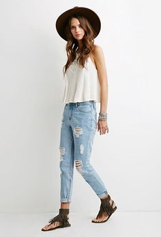Ripped Boyfriend Jeans  | Forever 21