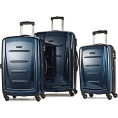 Samsonite Winfield 2 Hardside Expandable Luggage with Spinner Wheels, Charcoal Luggage Cover, Luggage Sets, Luggage Accessories, Deep Blue, 3 Piece, Charcoal, Shopping, Criss Cross, Count
