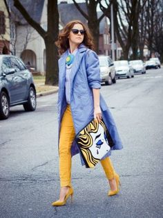 pop art clutch with blue and orange outfit
