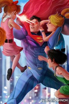 Superman vs The powerpuff girls! Who wins? : Superman vs The powerpuff girls! Who wins? More memes, funny videos and pics on Marvel Vs, Marvel Dc Comics, Style Badass, Super Nana, Poses References, Cartoon Crossovers, Dc Comics Art, Power Girl, Power Puff Girls Z