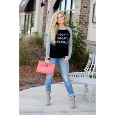 I Don't Sweat I Sparkle Tee- Black/Grey $22  Yes!  #graphictee  #shopwalkerboutique