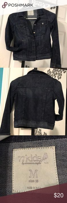 Girls Denim dark blue jacket like new 77kids girls size 10 dark blue with intentional wear marks from designer. Barley worn by my daughter. Easily add bling to dress up. 77kids Jackets & Coats Jean Jackets