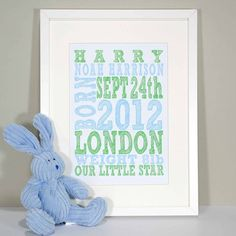 personalised birth print by something for daisy | notonthehighstreet.com