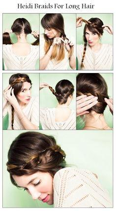 How To Make Heidi Braids For Long Hair | hairstyles tutorial