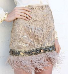 """Feather Trim Embellished Skirt""  Somewhere out there is the base of a lamp with no shade."