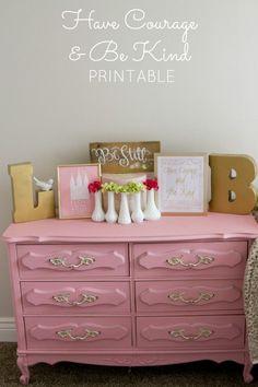 Cinderella Free Printable (Love this pink dresser)