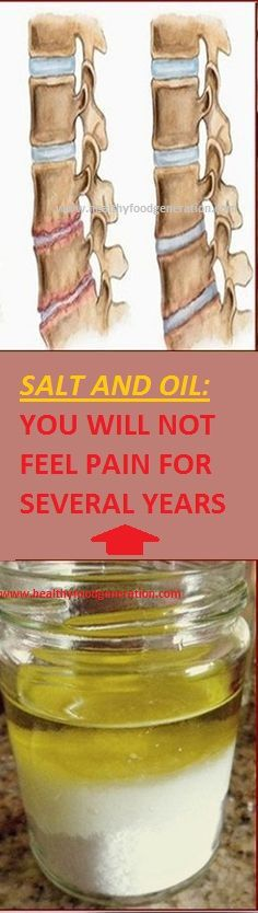 SALT and OIL: Medicinal mixture… you will not feel pain for several years - I Love Natural Healing Natural Home Remedies, Natural Healing, Herbal Remedies, Health Remedies, Natural Oil, Health And Beauty Tips, Health And Wellness, Health Tips, Health Fitness