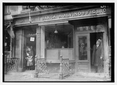 An Italian bank at Lafayette and Spring Streets, damaged in a Black Hand dynamite attack, 1915 Nov. 6 (Courtesy Library of Congress) Old Pictures, Old Photos, Little Italy Nyc, Pocket Neighborhood, The Bowery Boys, San Gennaro, Houston Street, Vintage New York, Library Of Congress