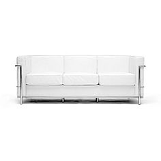 Want this badly for my new office space..... @Overstock - Update your home decor with this elegant Le Corbusier-style white leather sofa Stylish sofa features a contemporary design Furniture is made with a sturdy stainless steel framehttp://www.overstock.com/Home-Garden/LC-White-Leather-Sofa/3040902/product.html?CID=214117 $679.28