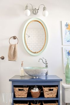diy nautical mirror paint and add central rope border